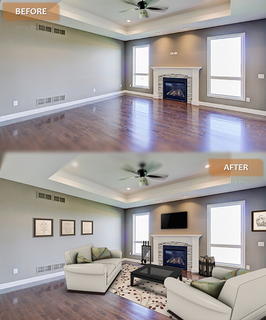 before after of virtual staging